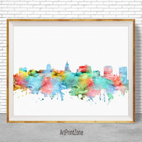 Madison Wisconsin, Madison Skyline, Madison Print, Office Prints, Office Art, City Skyline Prints, Skyline Art, Cityscape Art, ArtPrintZone