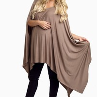Mocha Asymmetric Maternity Top