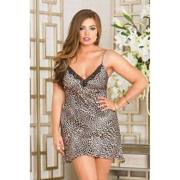 Icollection Satin Chemise With Lace Trim