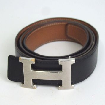 Authentic HERMES constance (with square R stamp) Belt Metal / Leather Men[Used]