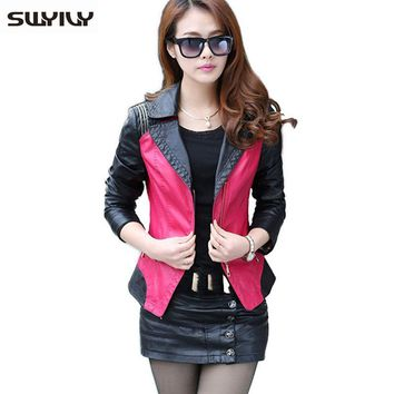 Warm Leather Jackets Women Color Block Lady Leather Coat 2015 Plus Size 4XL 5XL Female Brief Lapel Coat Embroidery Sleeve