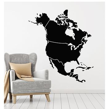 Vinyl Wall Decal Atlas North America Map American Continent Stickers Mural (g2733)