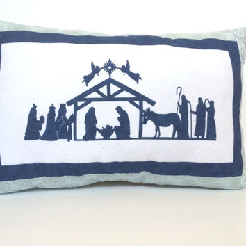 Quilted Nativity pillow, Quilted Christmas pillow