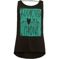 Full Tilt Addicted To My Phone Girls Bar Back Tank Black  In Sizes