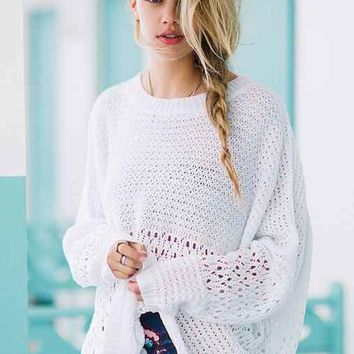 Native Rose Open-Work Sweater- Ivory