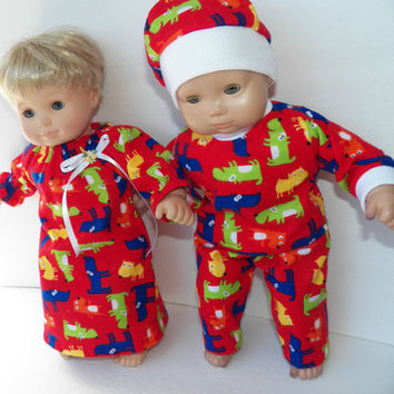 "American Girl Bitty Baby TWINS Pajamas Clothes 15"" Doll Clothes  boy and girl 4pc Red Puppy Dog Nightgown, Top, Pants, Cap pjs"