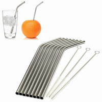 Eco Friendly 8Pcs Stainless Steel Metal Drinking Straw Reusable Straws + 3 Cleaner Brush Set #81351
