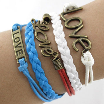 Retro Cool Multi Layered Red, White & Blue Braid Friendship Bracelet with 3 Bronze Love Charms 5 strands rows Women's