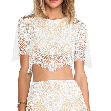 For Love & Lemons Grace Crop Top in White