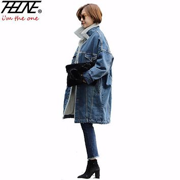 Winter Jackets Women Denim Coat Long Parka Fleece Velvet Cool Outwear Loose Cotton Manteau Femme Fashion Denim Jackets Female