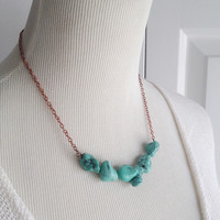 Turquoise Howlite Bar Necklace