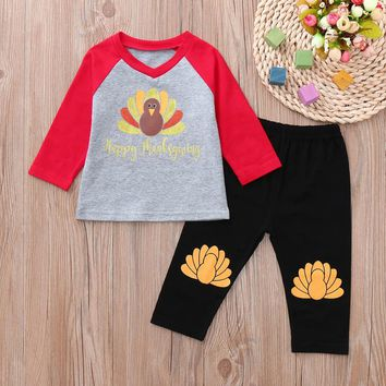 MUQGEW Kids Winter Clothes Baby Boys Girls Clothing Set 2PCs Letter Turkey Tops Pants Thanksgiving Day Outfits Set roupa infanti