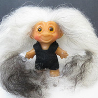 "Adorable Vintage Uneeda Wishnik 1960's 2.5"" Troll Doll with Long Mohair"