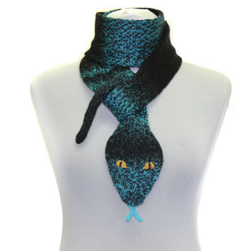 Snake Scarf /  Hand Knit Scarf / Turquoise black  / animal scarf / Halloween Costume