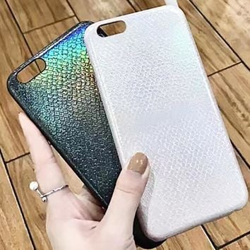 Luxury Colorful Bling Shining Snake Scales Aurora Soft Case For iPhone 7 6 6S Plus Phone PU Leather Back Cover Cover Shell Capa