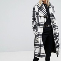 Religion Wrap Front Coat In Soft Brushed Check at asos.com