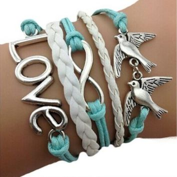 Handmade Adjustable Love Anchor Pigeon Multilayer Bracelet Wristband
