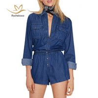 Rachelcoco 2016 Autumn Denim Jumpsuit One Piece Women Long Sleeve Turn Down Collar Romper Brand Double Pockets Cool Tracksuit