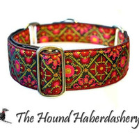 Brown, Pink, and Olive Jacquard Martingale Collar (1.5 Inch), Dog Collar, Greyhound Collar, Custom Dog Collars