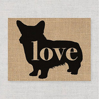 Welsh Corgi Love: An Unframed 8x10 Dog Breed Wall Art Print on Laminated Burlap