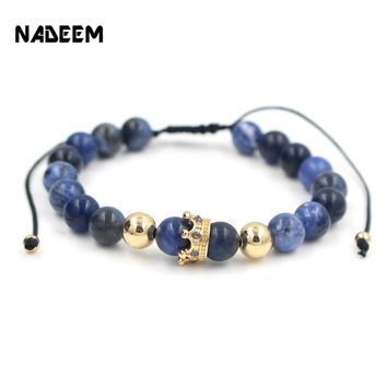 NADEEM Anil Arjandas Fashion Men Women Stone Bead Bracelet,Pave Setting Black CZ Crown Charm Weave Braiding Men Macrame Bracelet
