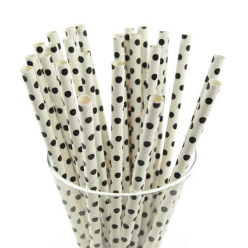 Small Dots Paper Straws, 7-3/4-inch, 25-pack, Black/White