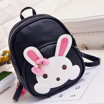 Toddler Backpack class Conversible Waterproof Bag PU Leather Cartoon Baby Girl Bagpack for Kids Cute Cartoon Rabbit School Backpack for Toddlers AT_50_3