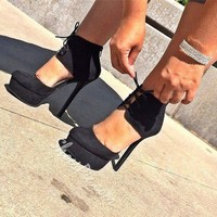 Fashionable Black Suede Ankle Strap Platform Heels- Shoespie.com