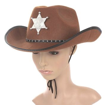 Cowboy Western Wild West Sheriff Hat Fancy Dress Halloween Party Costume (Brown)