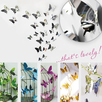 UNLIFE New Arrival 3D 12pcs 5 Assorted Color Chrom Mirror Butterflies Stickers Wall Decals for Home Decoration DIY for party
