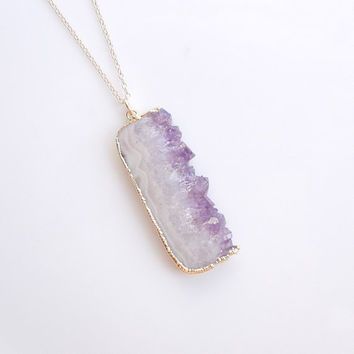 Amethyst Druzy Long Necklace in Gold - One of a Kind Jewelry