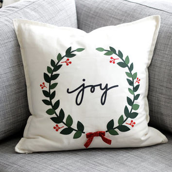 Joy wreath with red bow - Christmas throw pillow cover 20x20 - cute modern decor for the holiday season