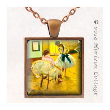 Edgar Degas' The Dance Lesson - Ballet - Old Masters' Classic Artwork - Key Ring or Pendant - Your Choice of Finish