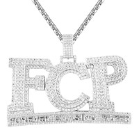 Sterling Silver FCP Forever Chasin Paper Double Layer Iced Pendant