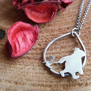 Sterling Silver Pooh Bear and Piglet necklace. Winnie the Pooh. Hand Cut. Oxidised.