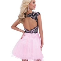 Pink and Black Baby Doll Homecoming and Sweet 16 Dress 11465