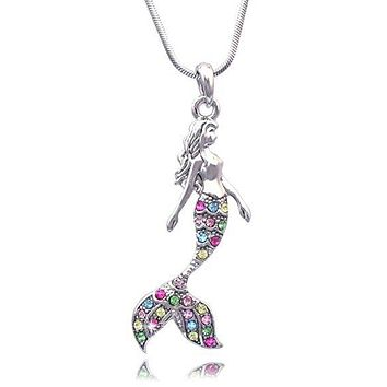 Mermaid Jewelry - Colorful Mermaid Necklace with Gemstones