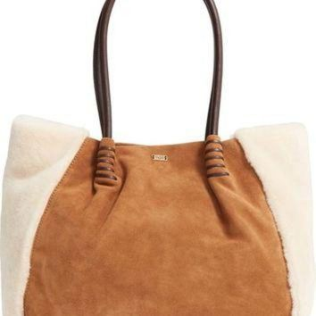 CREY1O UGG? Heritage Leather and Genuine Shearling Tote | Nordstrom