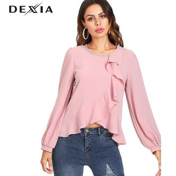 DEXIA Pink Tops Womens Long Puff Sleeve Round Neck Ruffles Casual Basic Shirt Women Tops Female Hollow Out Clothing SKST5872#