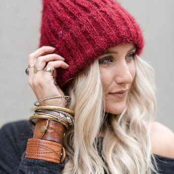 Cozy Soft Fur Pom Beanie - Red
