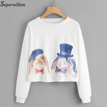 Women Hoodies Female Long Sleeve O-neck Sweatshirt Kawaii Rabbit Bird Print 2018 Spring Autumn Harajuku Casual Pullover Thin WY2