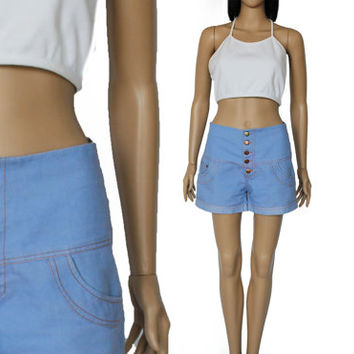 70s High Waist Denim Shorts Vintage Preppy Hipster 90s Style Clothing Womens Size Small