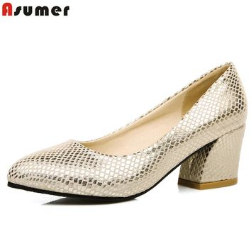 ASUMER Plus size 34-45 hot sale 2016 new high quality simple women pumps square heels party wedding shoes woman gold and silver
