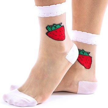 Strawberry Mesh Socks