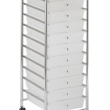 ECR4Kids 10 Drawer Mobile Storage Organizer White