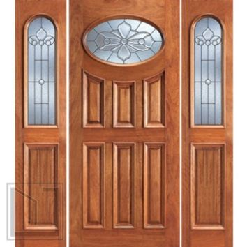 Prehung Mahogany Oval Lite Entry Two Side lights Door