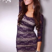 Purple Beige Lace Overlay 3/4 Sleeve Cutout Back Sexy Mini Dress @ Amiclubwear sexy dresses,sexy dress,prom dress,summer dress,spring dress,prom gowns,teens dresses,sexy party wear,women's cocktail dresses,ball dresses,sun dresses,trendy dresses,sweater d