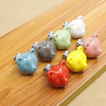 Cute Animal Bear Design Ceramic Drawer Cabinet Cupboard Door Pull Handle Wardrobe Knob