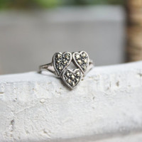 Vintage Marcasite Ring 3 Heart Shape Silver RIng 1940's Size 5 1/4 Valentines Gift - TT Team
