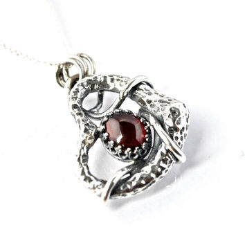 Unique Garnet Pendant, Unusual Necklace, Sterling Silver, Almandine Garnet, Recycled Jewelry, Artisan Pendant, Sustainable Silver, Red Stone